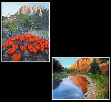 Red Cactus Blooms by Mary Lib Thornhill