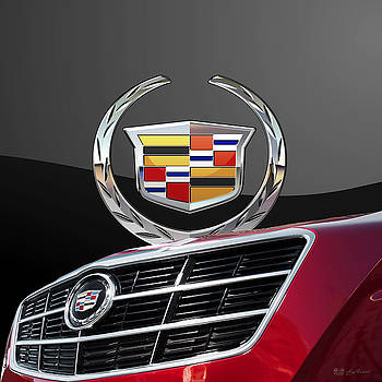 Serge Averbukh - Red Cadillac C T S - Front Grill Ornament and 3D Badge on Black