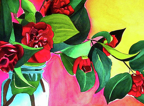 Red Camellias with green by Sacha Grossel