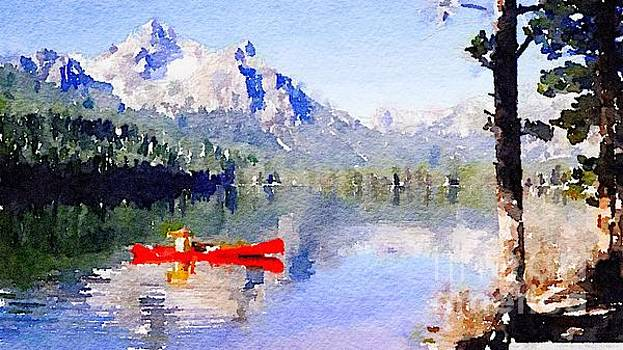 Red Canoe on Mountain Lake by Rich Governali