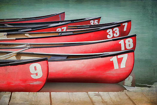 Red Canoes at Lake Louise by Debby Herold