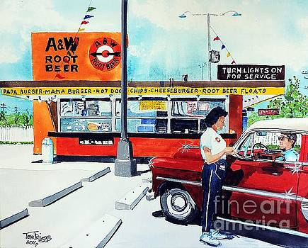 Red Car at the A and W by Tom Riggs