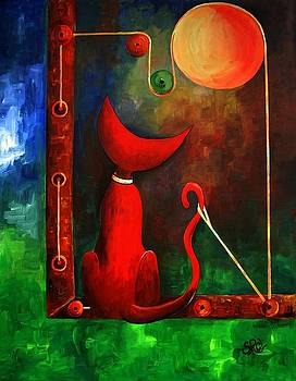 Red Cat Looking At The Moon by Silvia Regueira