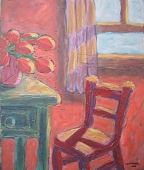 Red Chair in Orange Room by Carl Stevens