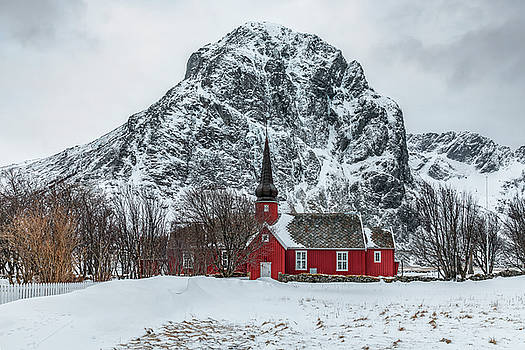 Red Church In The Snow by Joana Kruse