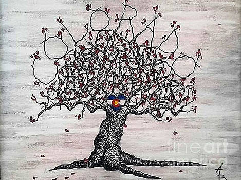 Red Colorado Love Tree by Aaron Bombalicki