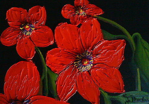 Red Dahila Flowers 2 by Portland Art Creations