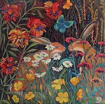 Red Dahlia Garden- dyptich A by Susan  Spohn