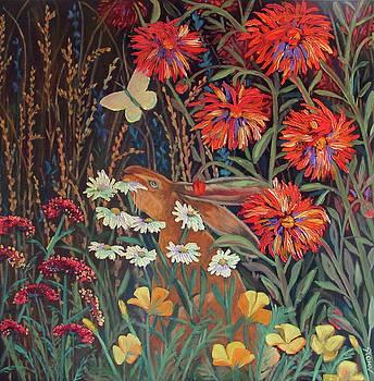 Red Dahlia Garden- dyptich B by Susan  Spohn