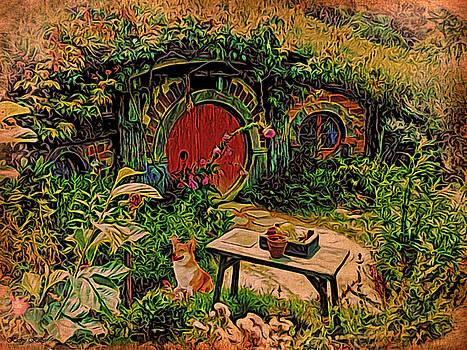 Kathy Kelly - Red Door Hobbit House with Corgi
