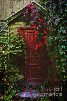 Red Door in the Garden by Amy Cicconi