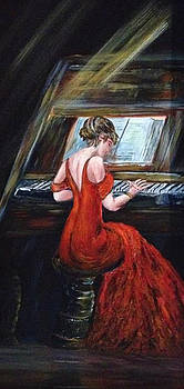 Red Dress Pianist by Dale Carr