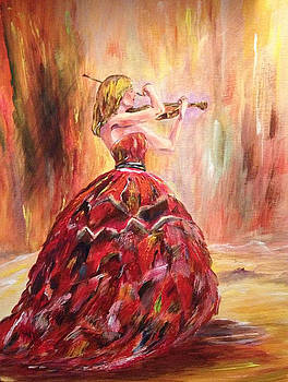 Red Dress Violinist by Dale Carr