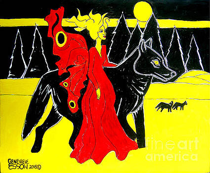 Genevieve Esson - Red Faerie and Black Wolf With Yellow Moon