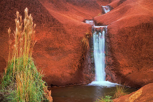Red Falls pours over the volcanic soil near the Waimea Canyon Drive. by Larry Geddis