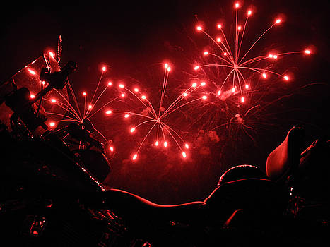 Red Fireworks over Soft Tail by Tobey Brinkmann
