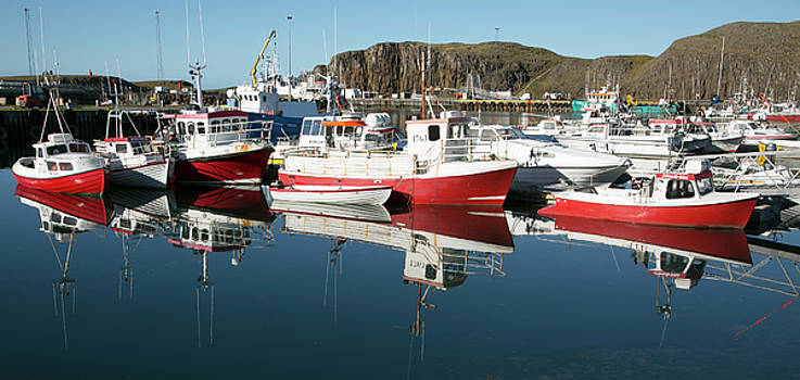 Red fishing boats by Elvira Butler