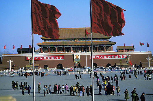 Red Flags in Tiananmen Square in Bejing China by Carl Purcell