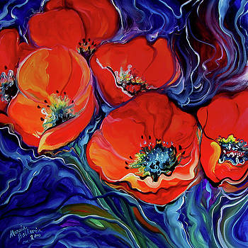 Red Floral Abstract by Marcia Baldwin