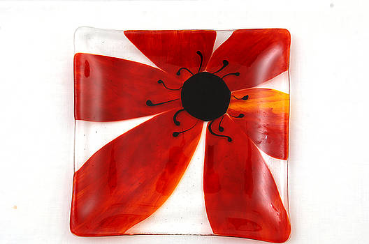 Red Flower plate by Sandy Feder