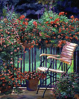 Red Flowers Garden Chair by David Lloyd Glover