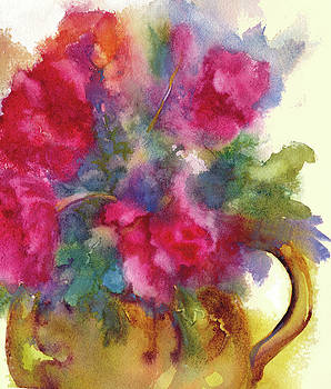 Peggy Wilson - Red Flowers in Gold Vase