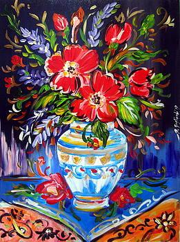 Red Flowers In Vase by Roberto Gagliardi