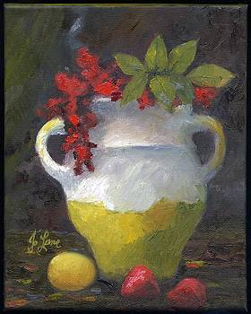 Red flowers in Yellow Pottery by Aletha Jo Lane