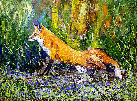 Red Fox 24x18x3/4 inch oil on canvas by Manuel Lopez