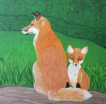 Red Fox Mother and Curious Kit by Michelle Vyn