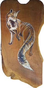 Red Fox on Cherry Slab by Jacque Hudson