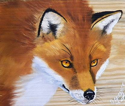 Red Fox on wood by Debbie LaFrance