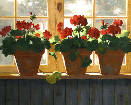 Red Geraniums Basking by Linda Jacobus