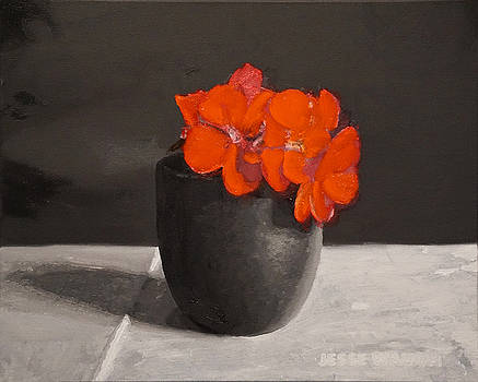 Red Geraniums in a Japanese Teacup by Jesse Waugh