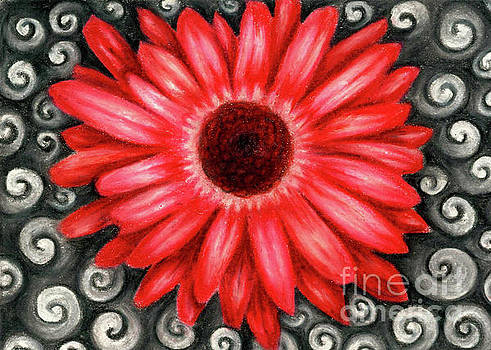 Red Gerbera Daisy Drawing by Kristin Aquariann