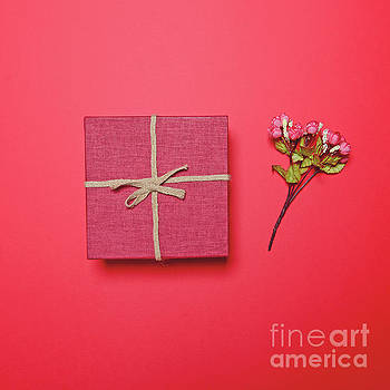 Red gift box and flowers bouquet against red background - Flat l by Aleksandar Mijatovic