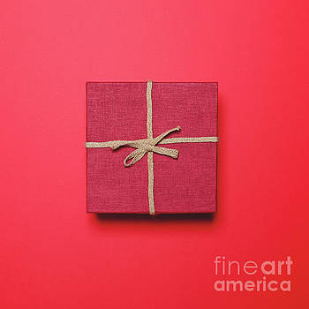 Red gift box with rope bow on red background - Minimal design by Aleksandar Mijatovic