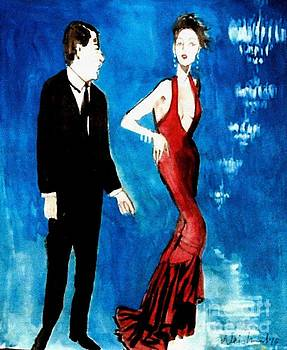 Red Gown Man and Chandeliers by Harry WEISBURD