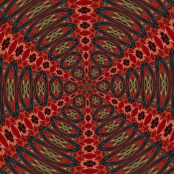 Tracey Harrington-Simpson - Red Green And Gold Kaleidoscopic Abstract