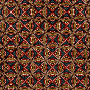 Tracey Harrington-Simpson - Red Green And Gold Repeating Pattern