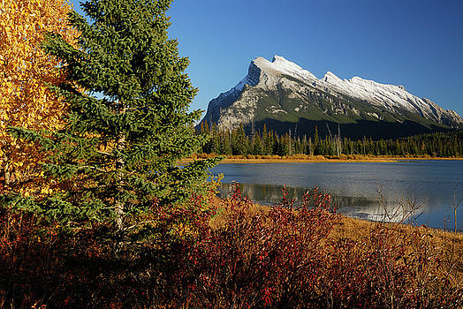 Reimar Gaertner - Red green and yellow leaves at first Vermillion Lake with Mount