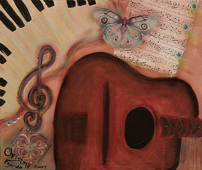Red Guitar and Butterfly Blues by Christina Fajardo