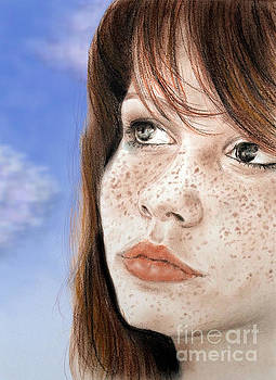 Red Hair and Freckled Beauty Version II by Jim Fitzpatrick