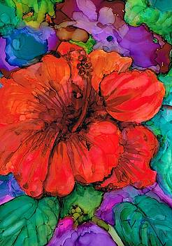 Red Hibiscus by Val Stokes