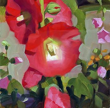 Red Hollyhocks by Kathleen Weber