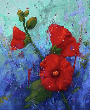 Red Hollyhocks by Monica Burnette
