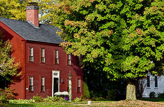 Red House on New England Fall Day by Chris Alberding