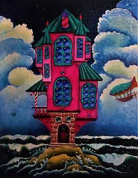 Red House On The Rocks by Nhoj Yesdnil