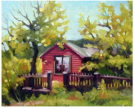 Red House with Aspen by Renee Peterson