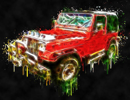 Red Jeep Off Road digital painting by Georgeta Blanaru
